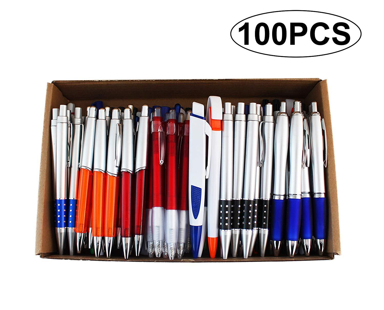 SKKSTATIONERY 100 Pcs Wholesale Ballpoint Pens, Assorted Ballpoint Pens, Retractable, For Office Supplies, Big Bulk Lot.