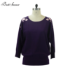 High Quality Off Shoulder Embroidery Designs Sublimation Winter Sweaters Women, Wide Neck Dolman Pullover