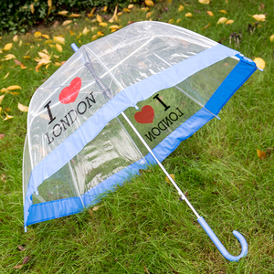 A18 disposable fashion transparent clear dome straight rain umbrella with color trim