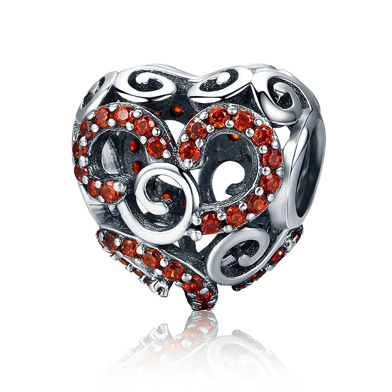 Everbling Autumn Red Maple Heart Shape Bead 925 Sterling Silver Bead For European Charm Bracelet