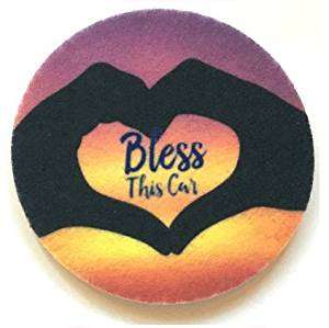 Bless This Car - Cup Holder Coasters - Free Shipping - Absorbent Car Coasters - 2 Pack