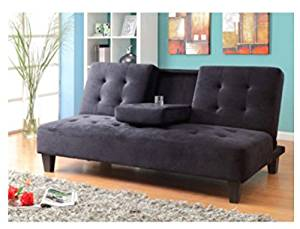 Get Quotations Futons Sofa Beds Twin Convertible Microfiber Color Black Converts Into A Sleeper In