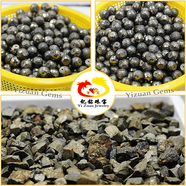 New product facets cut Natural iron pyrite fossil stone beads with hole