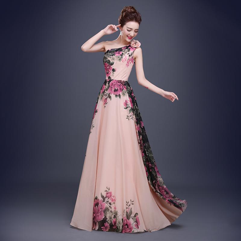 a8afab0522d3a One Shoulder Long Evening Dresses 2017 New Print Flower Pattern Formal  Evening Dress Women Party Gown Plus Size 6 8 10 12 14 16
