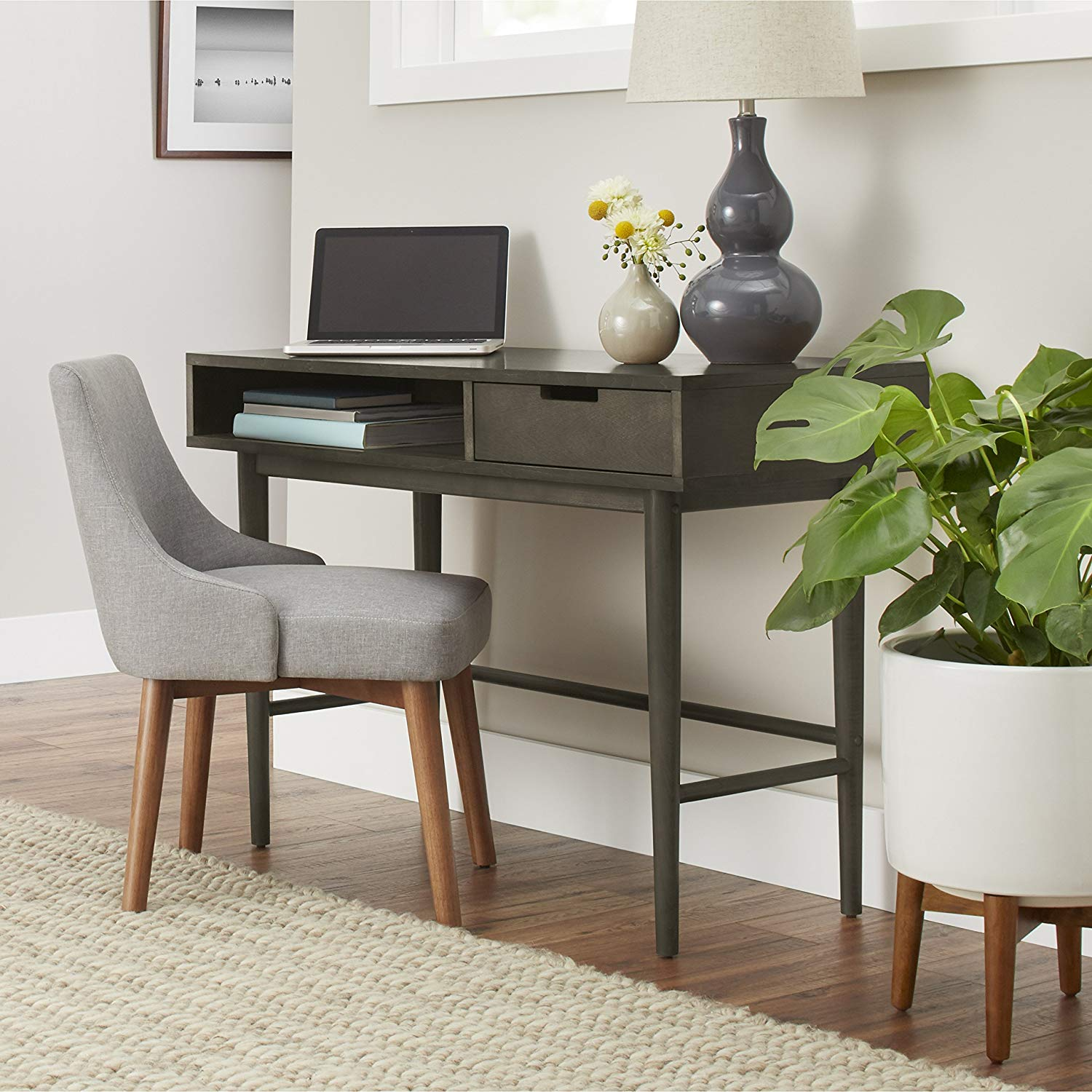 Mid Century Modern Desk, Gray Finish, Veneered Finish, Solid Wood Legs, Office, Home, Open Storage Space, Drawer, Bundle with Our Expert Guide with Tips for Home Arrangement