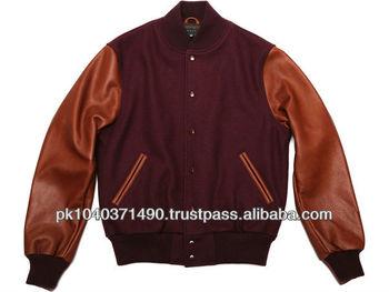 Wool Rich Raglan Sleeves Varsity Jacket - Buy Brown Varsity ...