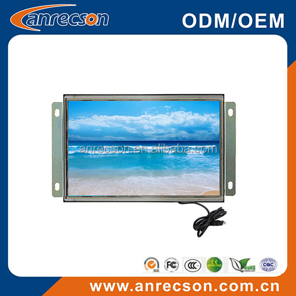 Portable 7 inch open frame LCD monitor with USB powered touch screen