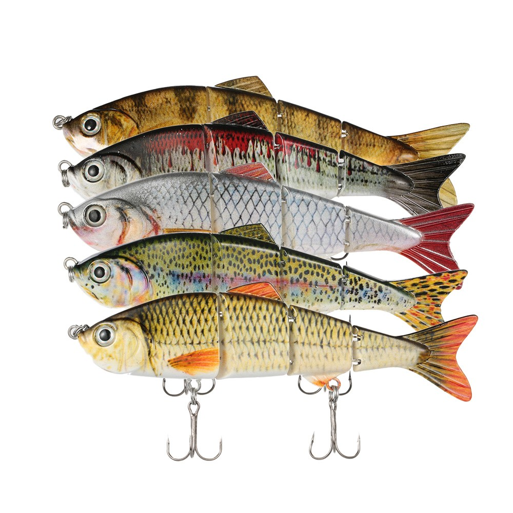 "Lixada 120mm 17g 4.72"" 4 Segments Multi-Jointed Hard Fishing Lure Life-like Swimbait Crank Bait 2 Treble VMC Hooks H14844-2"