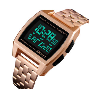 Luxury Gold case digital LCD watch wrist watches skmei brand water resistant sport watches