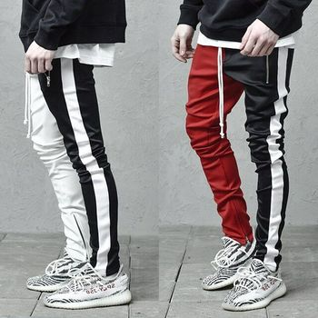 Men's Casual Colorblocked Individual Pants with Double Color Hip Hop Slim Pants Sports Trousers