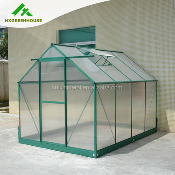 Widely Used One Plastic Door Large Garden Grow Tent Green Aluminum Frame Polycarbonate Greenhouse