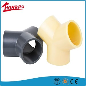 PVC pipe fitting three way elbow Y branch pipe fitting