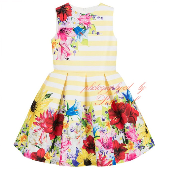 Hottest <strong>Girls</strong> Yellow Striped &amp; Floral Dress Children's Frock <strong>Design</strong> <strong>Girl</strong> Dress For Wholesale G-NPGD912-58