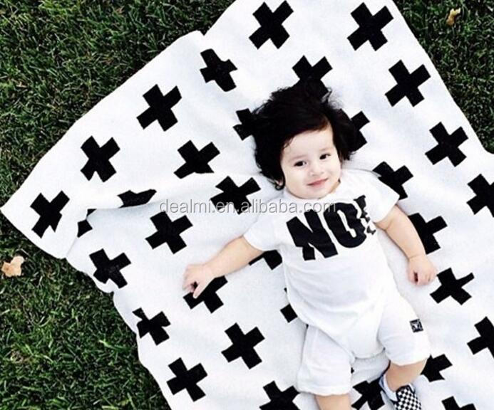 DMlqk395----wholesale new family baby knitted blanket cotton print king size bed throws