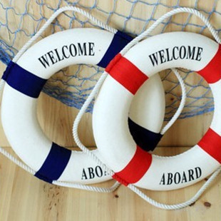 2pcs/lot Wall Door Hanging <font><b>Nautical</b></font> Welcome Life Buoy Life Ring Bar <font><b>Home</b></font> <font><b>Decor</b></font> 20cm
