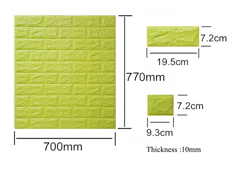 New model easy stick PP film with PE foam brick  3D wallpaper