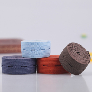1.5 inch factory wholesale colored knitted adjustable buttonhole elastic band spool flat elastic belt for waistband