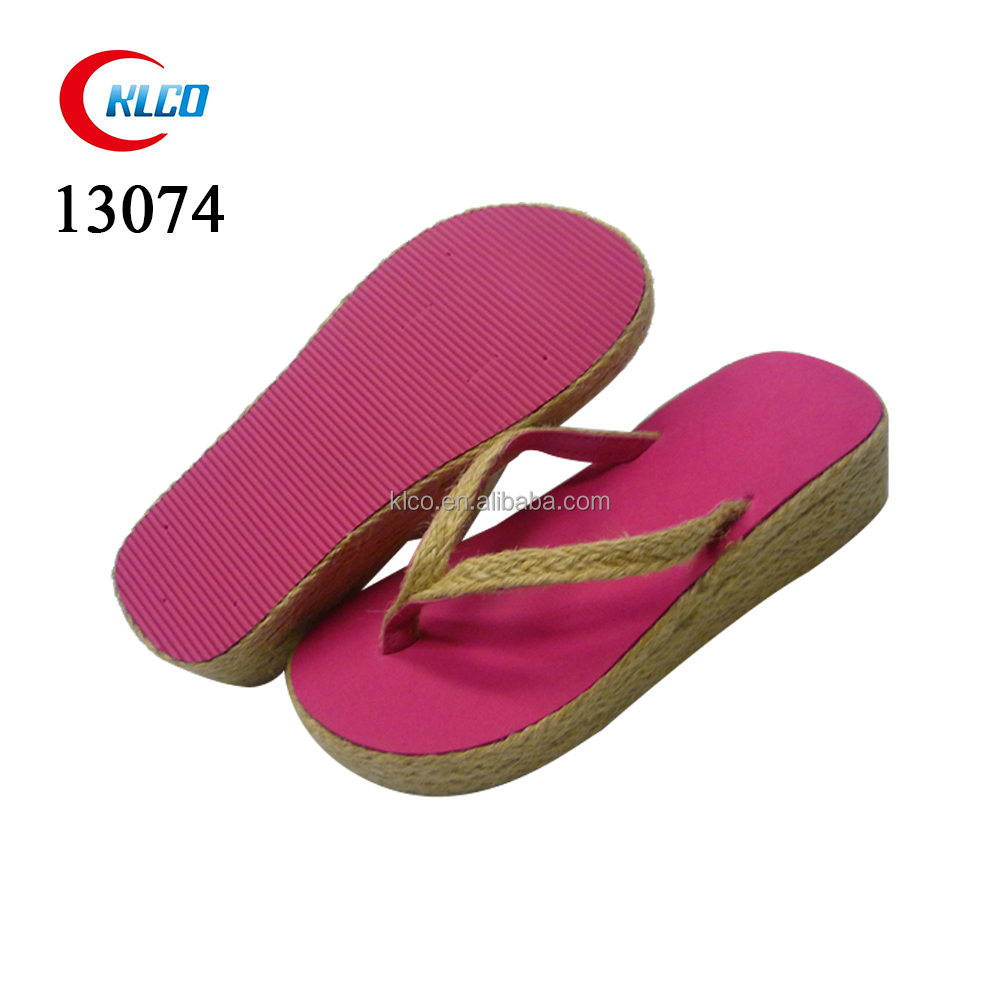 Pink women hemp rope wedge heel beach EVA flip flops slipper