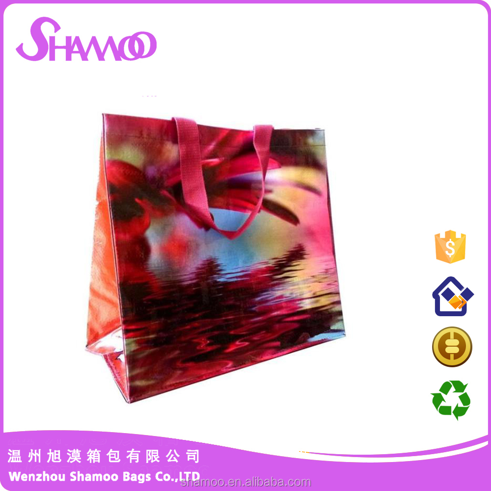 luxury print pp woven shopping bag