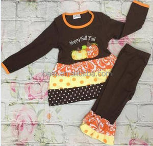 wholesale children character clothes Girl's fine embroidered pumpkin suit