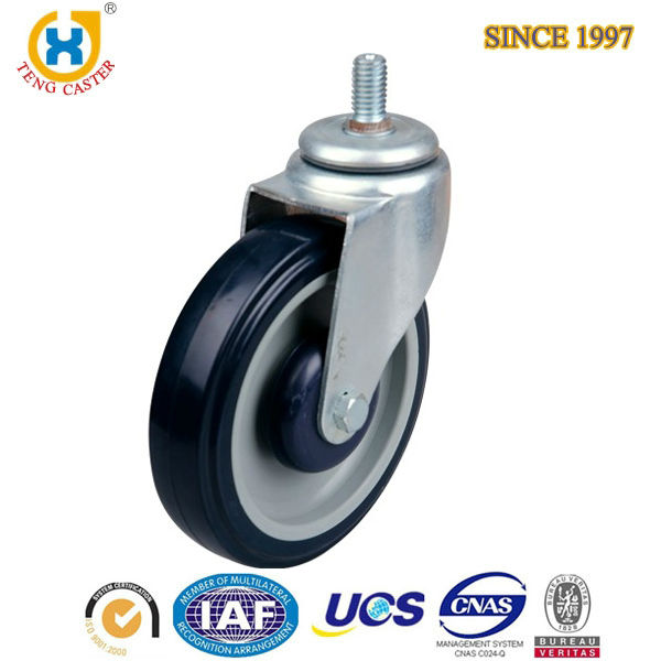 High Quality 5.0 inch Plastic Shopping Series Soft PU Double Ball Caster Wheels