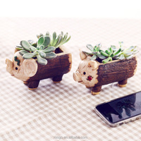 Hot Selling Elephant Shape Resin Wooden Design Garden Fairy Cheap Custom Ornaments Flower Pot