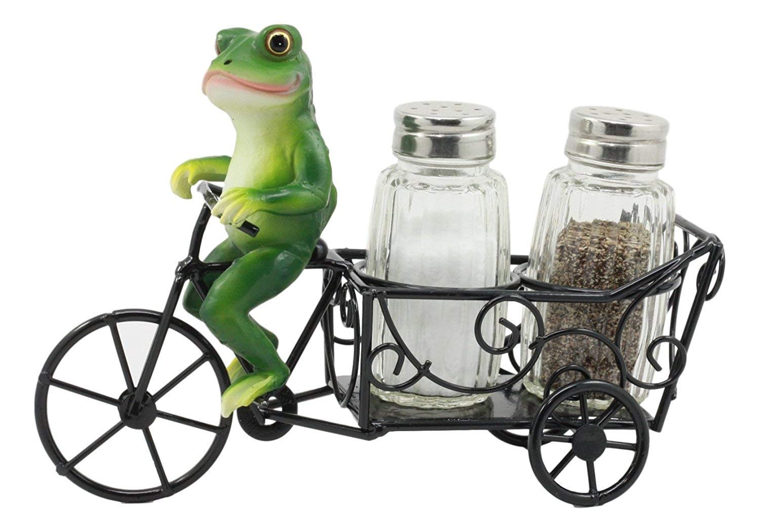 """Ebros """"Croak"""" Spice Village Town Delivery Green Toad Frog Riding Bicycle Cart Salt And Pepper Shakers Holder Figurine 7.5""""Long Whimsical Animal Kitchen Decor"""