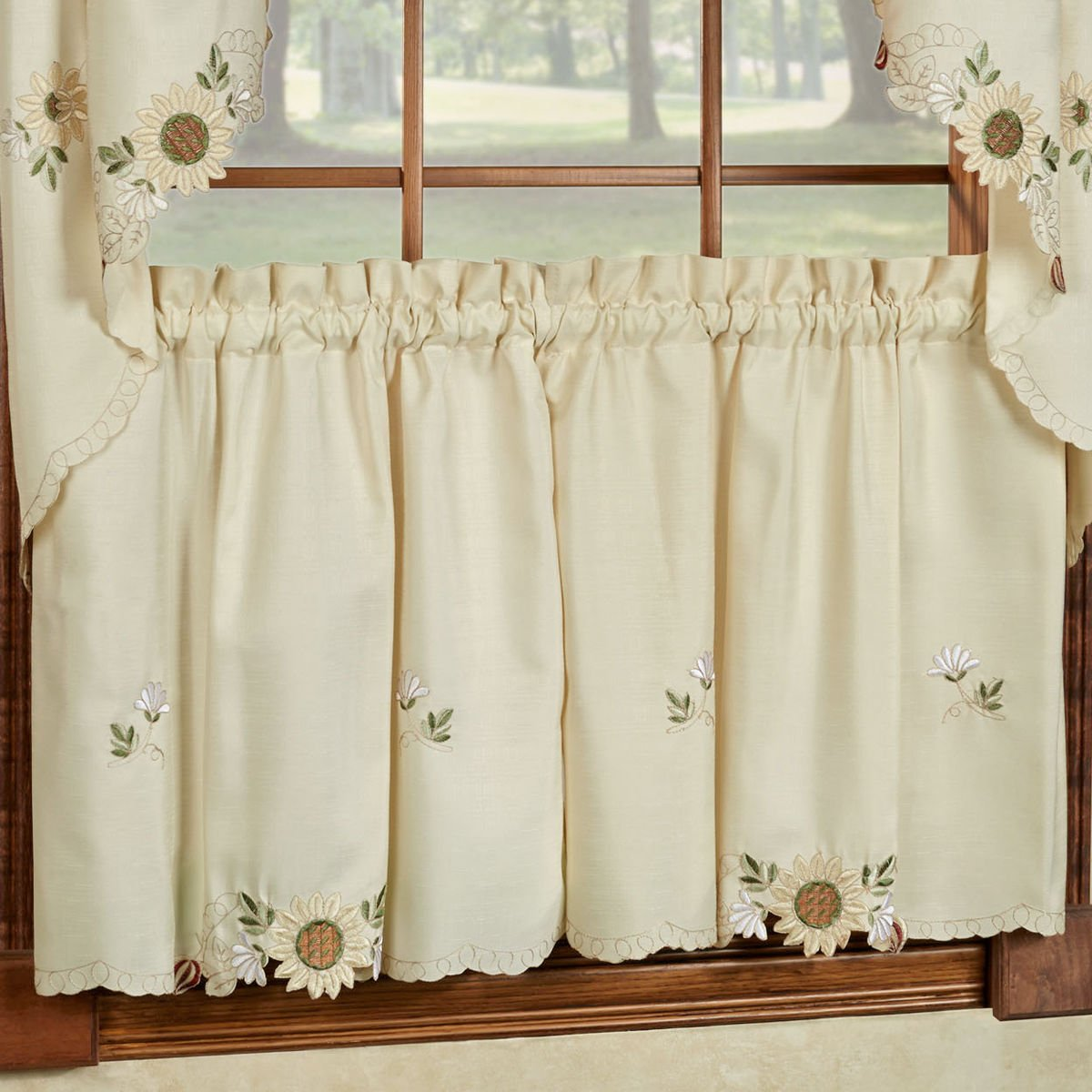 Get quotations · sunflower cream embroidered kitchen curtains tiers valance or swag 24 cafe tier curtains