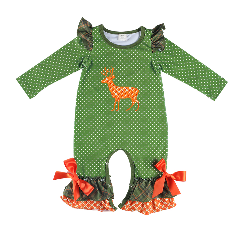 Wholesale Children's Boutique Clothing Plaid Reindeer Applique Girls Romper For Christmas фото