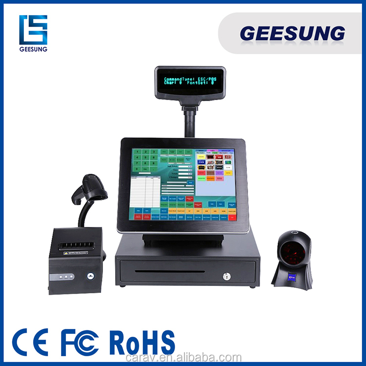 15 inch POS pc fanless /epos system with POS printer android