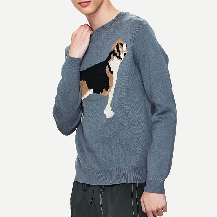 Custom Logo Crew Neck Knitted Winter Sweater Men