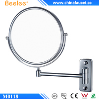 Beelee M0118 Single Arm Extendable Wall Mounted Magnifying Bathroom Mirrors