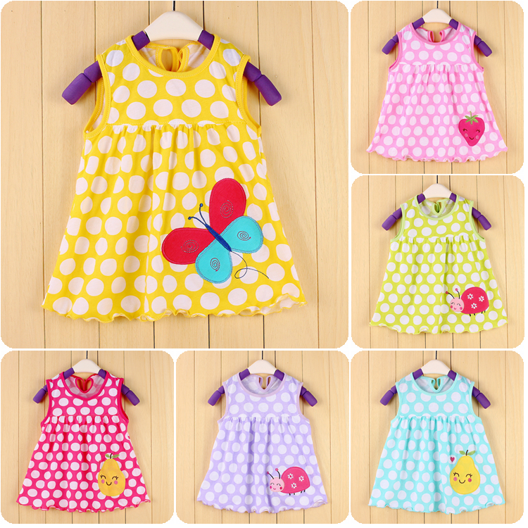 97ef4befaa0f Summer Baby Girl Embroidery Floral And Cartoon Dress Children Casual ...