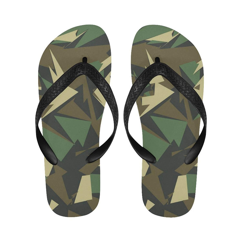 fb7381a718 Get Quotations · InterestPrint Flip Flop Slippers Camouflage Geometric Camo  Beach Thong Sandal