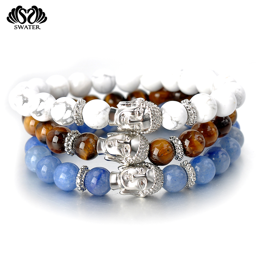 Custom Men Blue Natural Gem Agate Stone Buddha Bead Bracelets