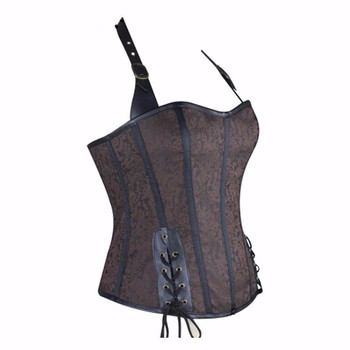 44fba0dcf Wholesale 12 boning brown corset steampunk clothing plus size corset with leather  shoulder straps