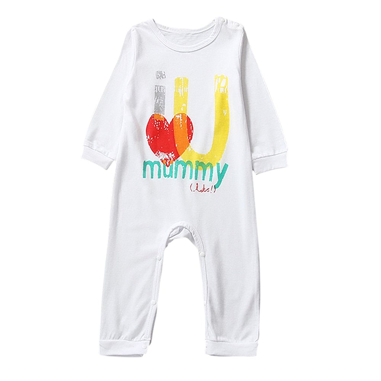 e2c754acb47d SODIAL(R) baby clothing unisex baby rompers printed I love you mummy white  90cm