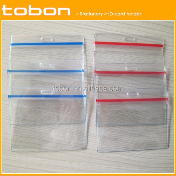 new design super clear waterproof color zip ID card holder