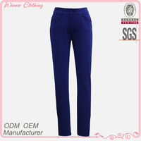 Formal/office wear slimming trousers sappire color side zippered slim fit ladies trouser cutting
