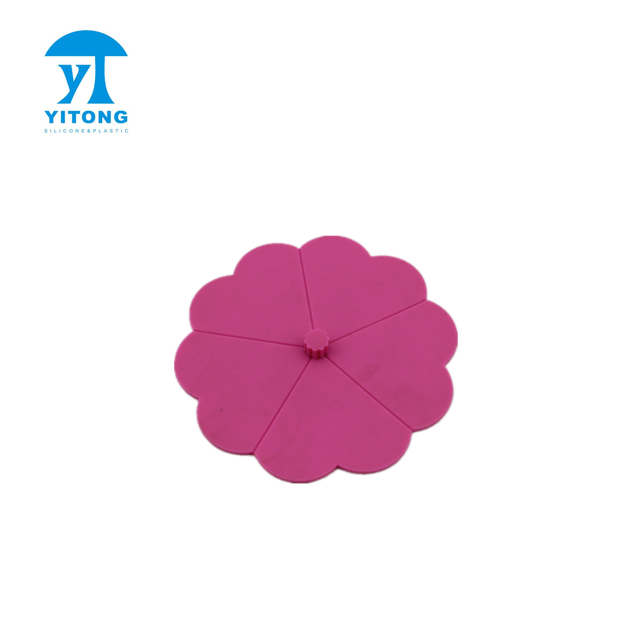 Pink Disposable Silicone flower shape Cup Lid