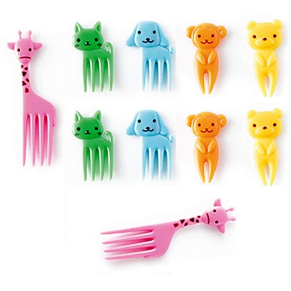Aolvo 10 PCS Mini Dessert Forks Cute Cartoon Fruit Fork Set for Cake Snack Salad Dinnerware Set Lunches Party Decor