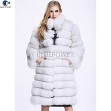 Wholesale retail ladies fashion whole hide real blue fox fur long coat with stand collar
