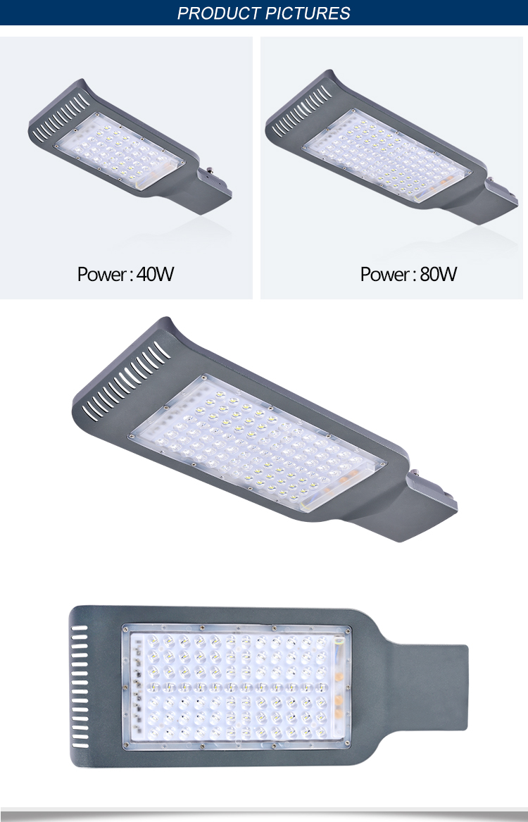 IP65 waterproof outdoor brigelux cob 80 watt led street lights fixture