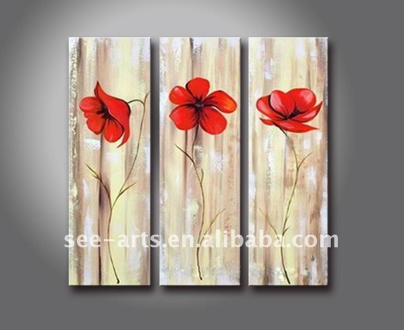 simple abstract red flower group paintings
