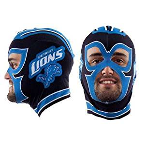 NFL Little Earth Detroit Lions Lucha Libre Fan Mask / One Size Fits Most / Black w/ Blue and White / NFL