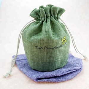 coffee beans print drawstring jute gift bag custom packaging bag with logo