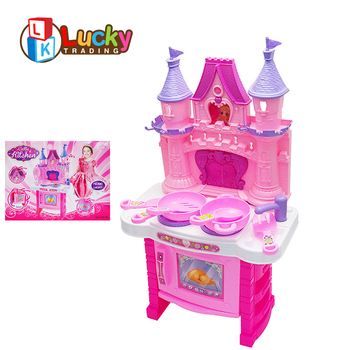 new design kids pretend house plastic pink mini castle kitchen play set  with light music, View kitchen play set, Lucky Toy Product Details from ...