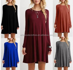 Ecoparty Women's Casual Plain Long Sleeve Round Neck Tunic T-Shirt Loose Mini Dress