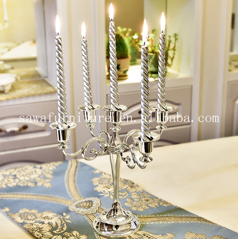Wedding Decoration / Banquet Table Decoration / Luxury Stainless Steel High Quality Candlestick Acrylic Pendant