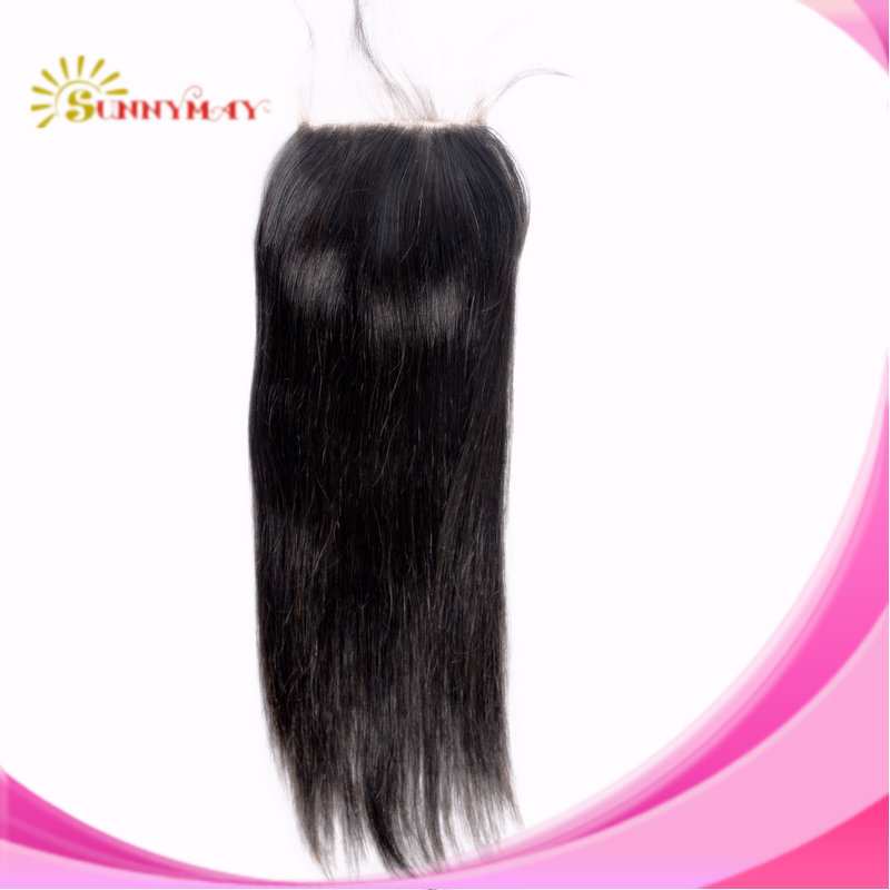 Wholesale 7A Quality 4*4 Virgin Human Hair Malaysian Straight Lace Closure Bleached Knots Human Hair Sunnymay Stock Cheap Hair